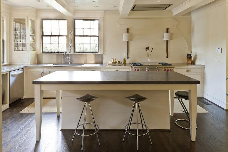 Cream Kitchen Island with Black Countertop  Transitional  Kitchen
