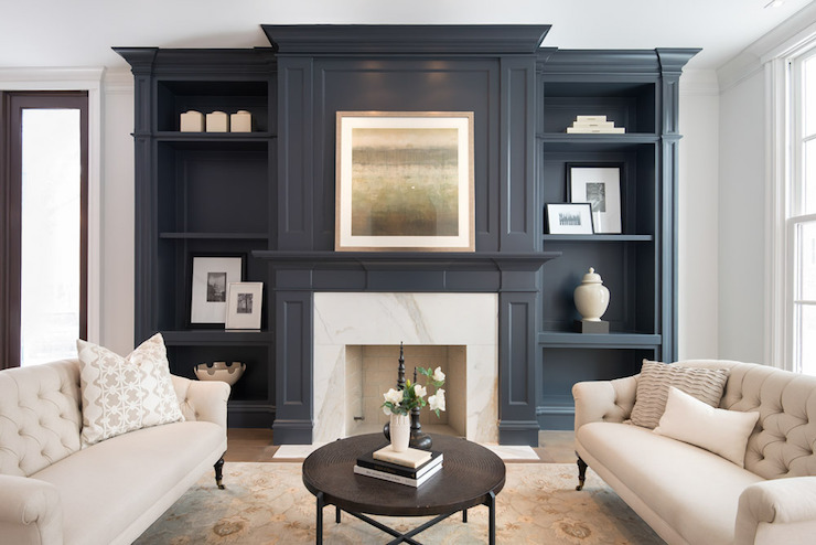 Blue Living Room Design Transitional