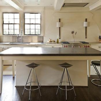 Cream Kitchen Island With Black Countertop