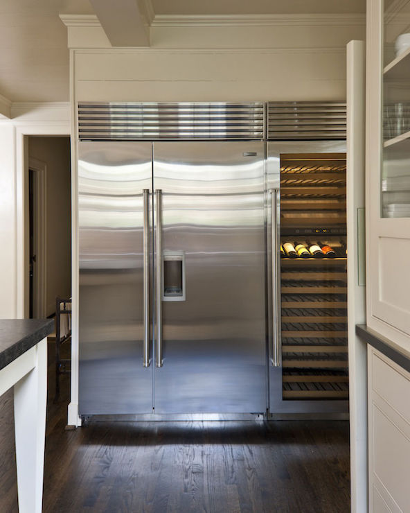 Gray Paneled Refrigerator And Freezer Contemporary Kitchen