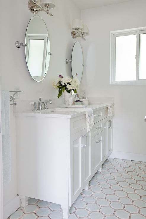 Love It Or List Amazing Master Bath Features A White Footed Bathroom Vanity Divided Into His And Her Sections Topped With Quartz Framing