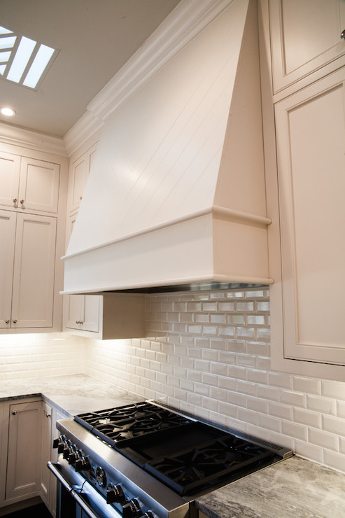 Gray Beveled Kitchen Backsplash Tiles With French Hood