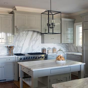 Glossy Gray Kitchen Cabinets, Transitional, Kitchen