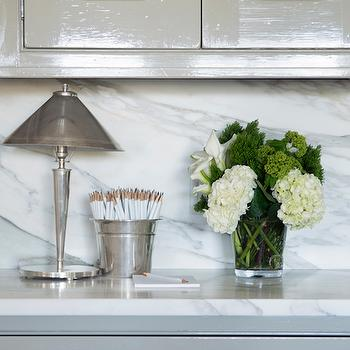 Glossy Gray Cabinets with White Marble Top, Transitional, Kitchen