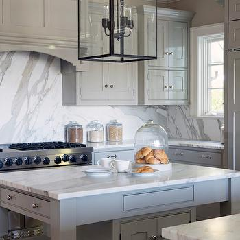 Gray Kitchen Island with Turned Legs, Transitional, Kitchen