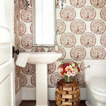 Powder Room Walls Covered in Fabric, Transitional, Bathroom