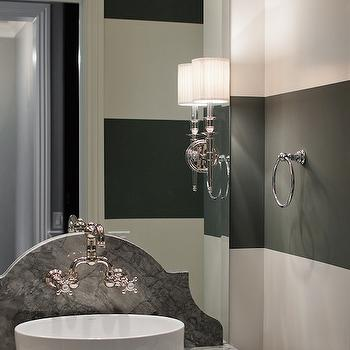Powder Room with Black and White Striped Walls, Contemporary, Bathroom