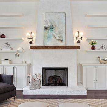 Fireplace with Floating Shelves Sconces Design Ideas