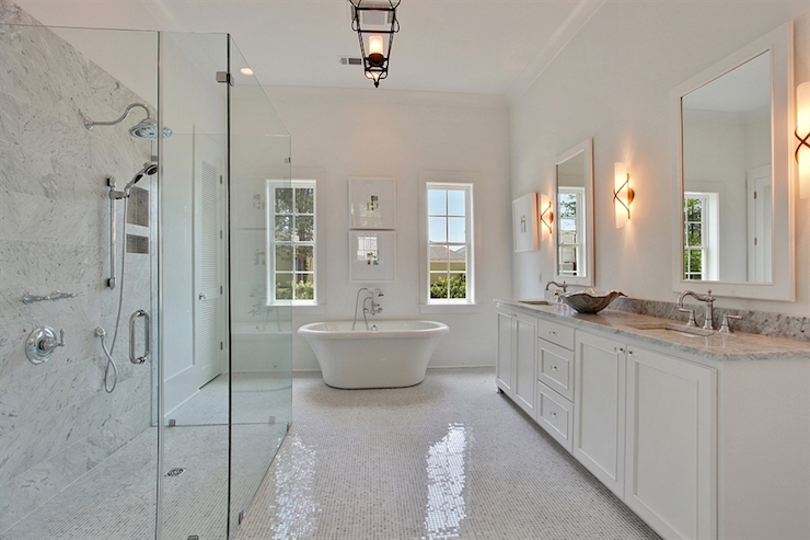 Sophisticated Master Bath Features A Seamless Glass Walk In Shower Fitted With Marble Surround Lined His And Her Heads Facing Single
