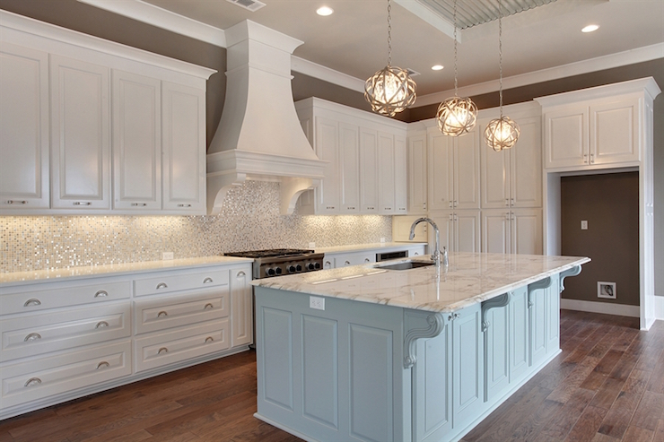 White and Silver Iridescent Tile Backsplash  Transitional  Kitchen