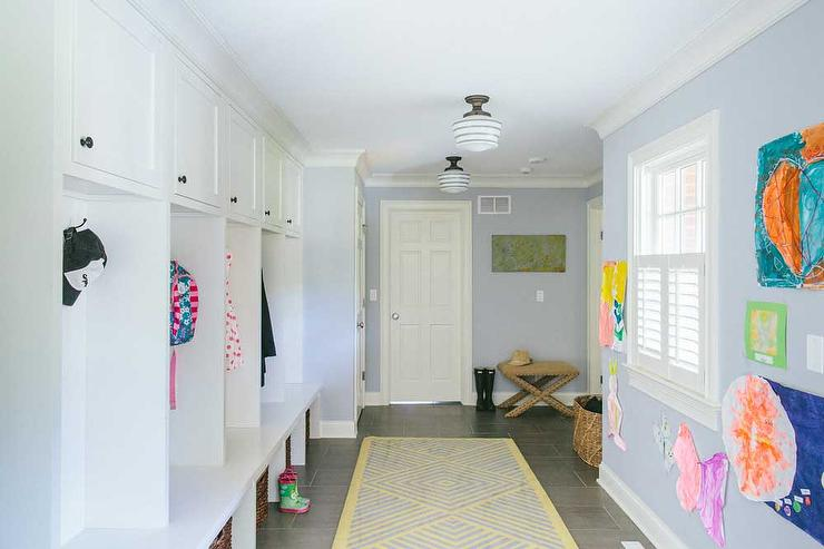 mudroom with individual lockers transitional laundry room