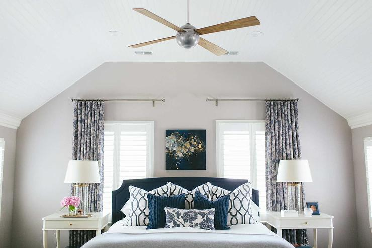Navy and gray bedroom