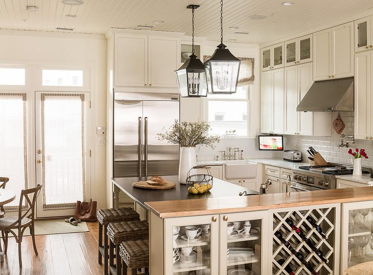 Kitchen Pony Wall With Built In Wine Rack Cottage Kitchen