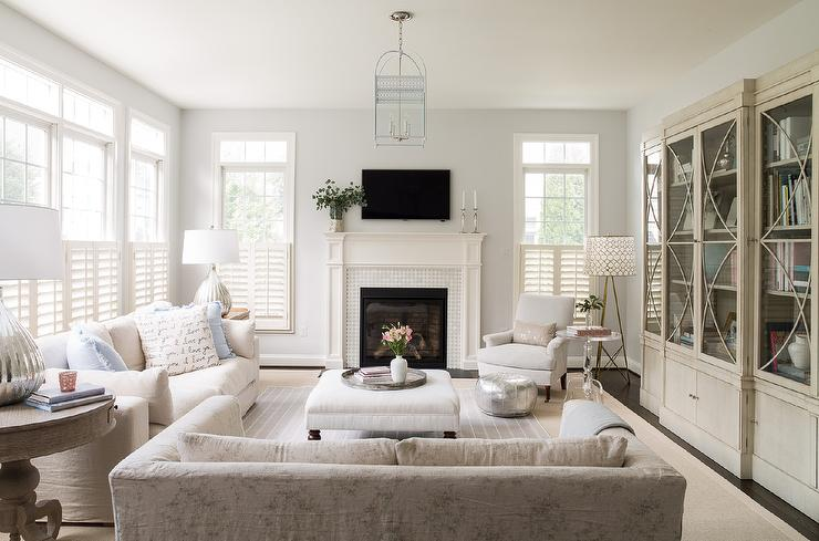 Living Room with Glass Front Cabinets - Transitional ...