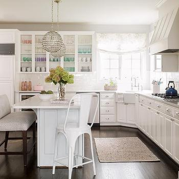 Lovely Kitchen With Corner Farmhouse Sink