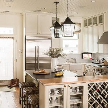 Kitchen Pony Wall with Built In Wine Rack, Cottage, Kitchen
