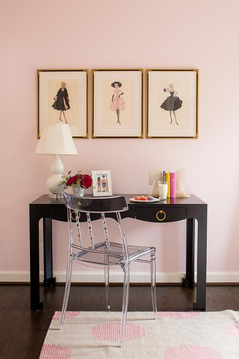 pink  black kids room transitional girls room