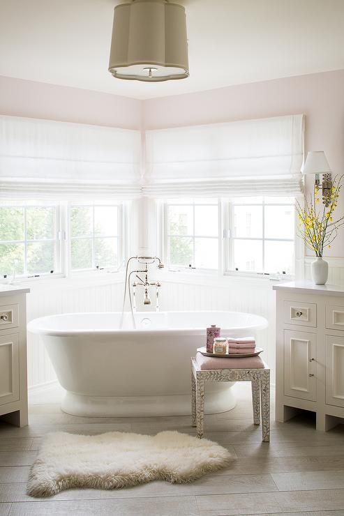 Pink Master Bathroom With Corner Tub Transitional Bathroom