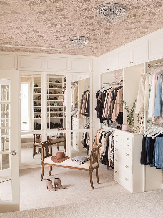 Wallpapered Ceiling In Walk In Closet