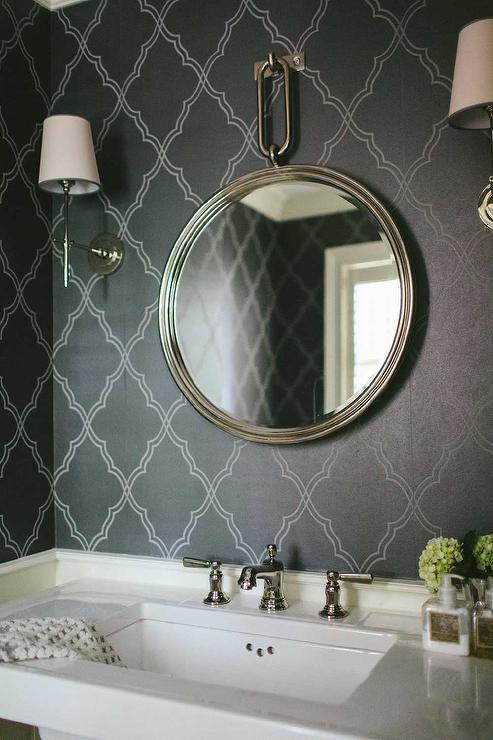 Powder Room With Black Moroccan Wallpaper Transitional