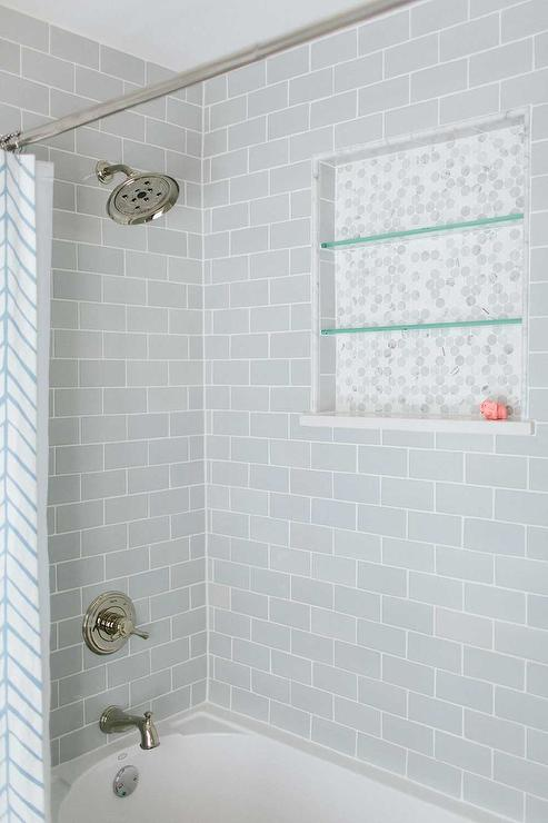 Shower with gray subway tiles transitional bathroom for Glass tile bathroom designs