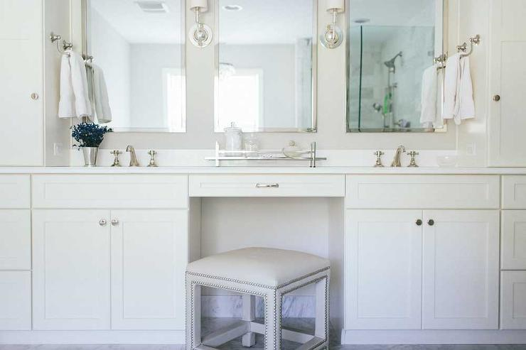 Vanity Stool With Nailhead Trim Transitional Bathroom
