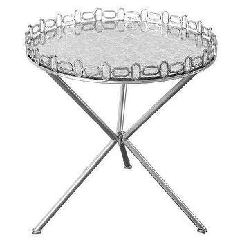 Round Mirrored Silver Accent Table
