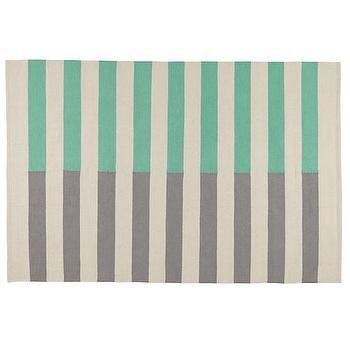 Half Stripe Aqua Rug