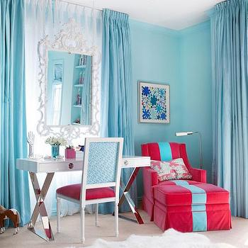 Kids Room with Turquoise Curtains, Contemporary, Girl's Room