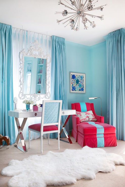 Kids Room with Turquoise Curtains - Contemporary - Girl\'s Room