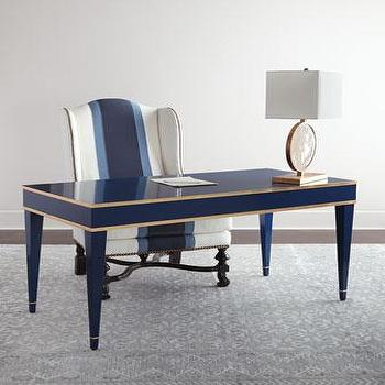 Barclay Butera Liam Blue And Gold Writing Desk