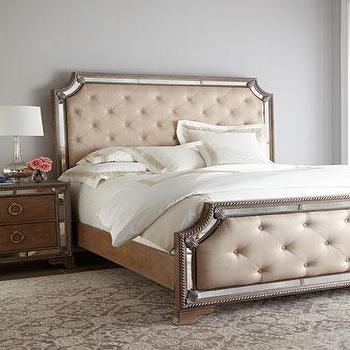 Margo Mirrored Ivory Tufted Bed. Mirrored Trim Bed   Products  bookmarks  design  inspiration and