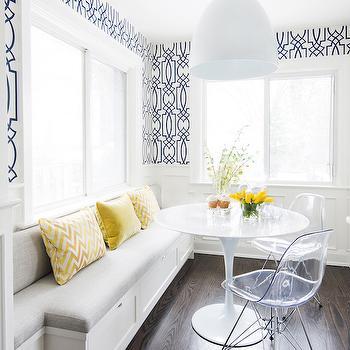 Navy Trellis Wallpaper, Contemporary, Dining Room