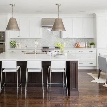 White Kitchen with Espresso Island, Transitional, Kitchen