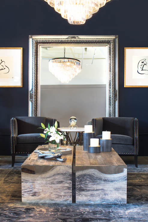 Navy Blue Living Room Chairs on gray ottoman