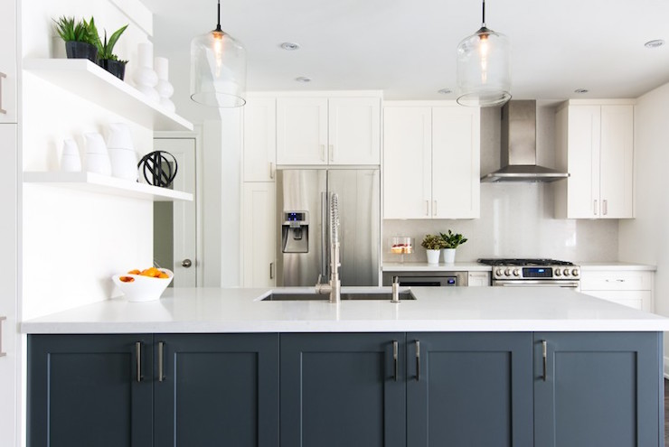 White And Gray Kitchen With Navy Blue French Bistro