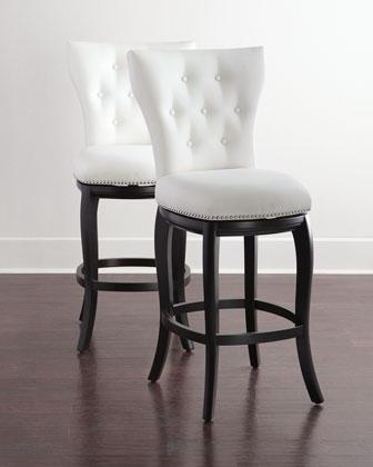 white leather tufted barstool