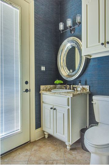 Bathroom With Blue Grasscloth