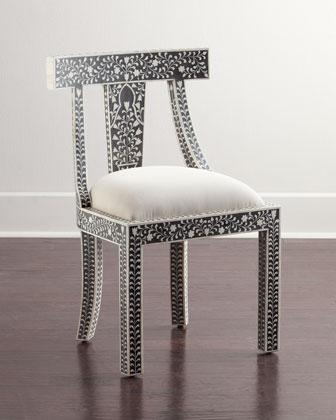 Perfect Femi Bone Inlay Black And White Accent Chair