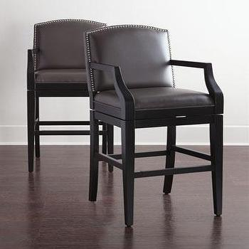 Aiden Brown Leather Swivel Barstool
