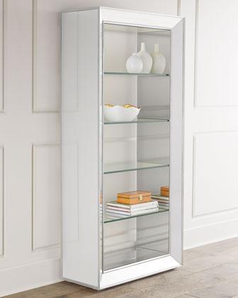 Shilo Tall Mirrored Silver Bookcase