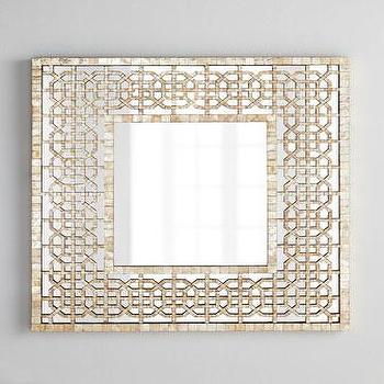 Diedra Capiz Fretwork Handcrafted Capiz Shell Tiles Mirror