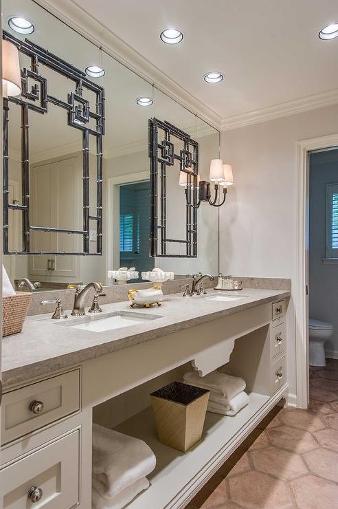 Bathroom Mirror On Mirror bathroom with mirror on top of mirror - french - bathroom