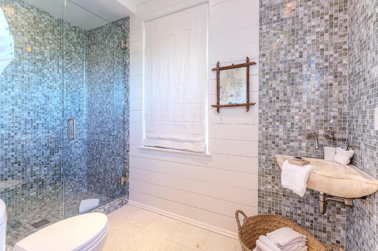 Bathroom with gray glass mosaic tiles cottage bathroom for Mosaic glass tile bathroom ideas