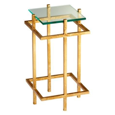 Attractive Bowery Gold Glass Leaf Top Accent Table