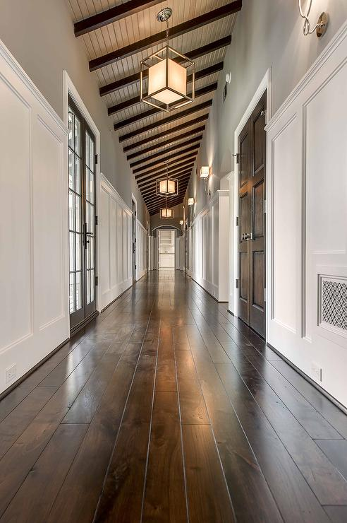 Long Hallway With Lanterns Transitional Entrance Foyer