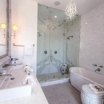 Bathroom with White Marble Arabesque Tiles, Cottage, Bathroom