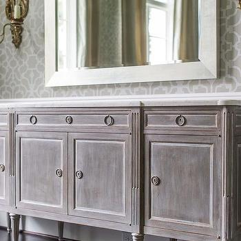 Gray Distressed French Buffet Cabinet, French, Dining Room