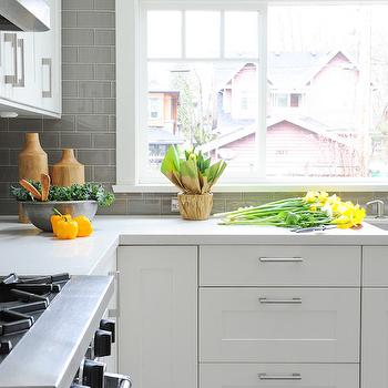 gray kitchen subway tile. White Kitchen With Grey Backsplash Gray Subway Tiles Design Ideas