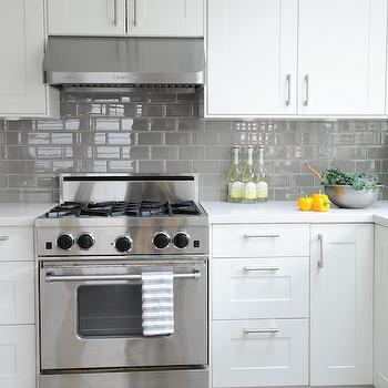 White Subway Tile Kitchen Concrete Counter